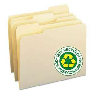 Smead 100 Recycled File Folders 1 3 Cut One ply Top Tab Lett 086486103398