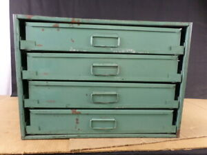 Vintage 4 drawer Industrial Blue Metal Small Parts Storage Cabinet Bin Box