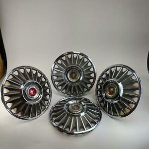 Vintage 1967 Ford Mustang Standard 14 Hubcaps Wheel Cover Red Center Cap 4 Pcs