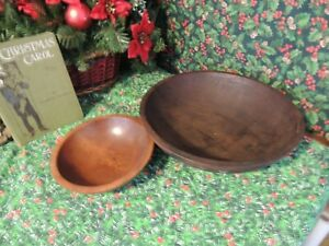 Two Vintage Wooden Dough Bowls Large And Small Great For Potpourri