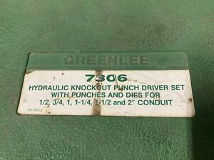 Greenlee 7306 Hydraulic Knockout Driver Set And Accessories