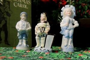 Three 3 Antique German Bisque Figures Figurines Statues Petite In Size Unmarked