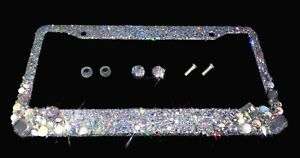 3d Bling License Plate Frame Silver Clear White Crystals Glitter Diamond Silver