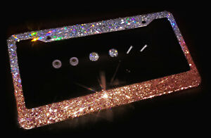 Ombre Bling License Plate Frame W Rose Gold And Silver Glitter Diamond Crystal