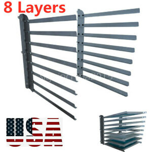 Wall Fixed 8 Layers Screen Printing Shop Rack Storage Holder Frame