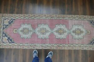 Vintage Turkish Oushak Runner Rug Handwoven Wool Antique Rug Runner 3 X9 3 Ft