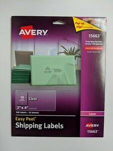 Avery Matte Clear Shipping Labels 15663 2 X 4 9 Sheets Laser