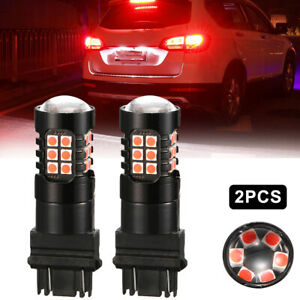 2pc 3157 Red Led 3030 Smd Strobe Flashing Brake Tail Lights Safety Warning Bulbs