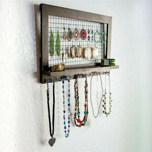Rustic Brown Jewelry Organizer Wooden Wall Mounted Holder For Earrings Necklaces