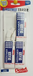 Pentel Hi polymer Eraser Rectangular Medium White Latex free Hi polymer 3 count