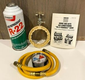R22 Refrigerant Kit 1 15oz Can 1 36 Hose W Gauge Side Punch Can Tap