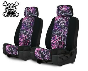 Neoprene Muddy Girl Camo Front Seat Covers For 2 Low Back Bucket Seats