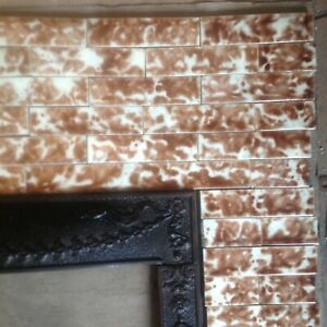 Complete Set Vintage Victorian Antique Fireplace Tile Mantle Tiles Brown Cream
