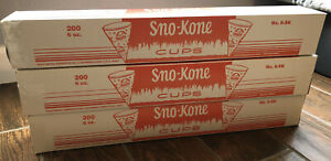 Lot Of 3 Case Of 200 Total 600 Cups Gold Medal Sno Kone sno cone Cups 6 Oz