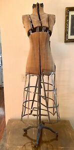 Antique 1900 s Industrial Adjustable Mannequin Dress Form Ornate Cast Iron Base