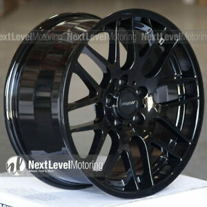 Circuit Cp33 188 18x9 5 114 3 35 Gloss Black Staggered Wheels Fits Nissan 350z