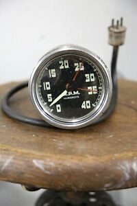 Vintage Rat Rod Hot Rod 40 Thousand Rpm Tachometer Racing Clock Fan Dash Auto