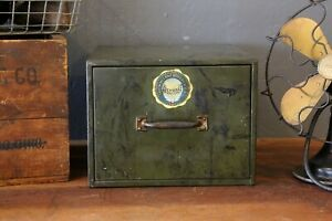 Vintage File Cabinet Single Drawer Metal Card Catalog Tool Box Military Green