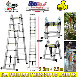 5m Portable Aluminium Multi purpose Telescopic Ladder Extension Steps Tall Rivet