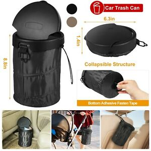 Portable Car Trash Can Garbage Bin Bag Organizer For Vehicles Waterproof Black