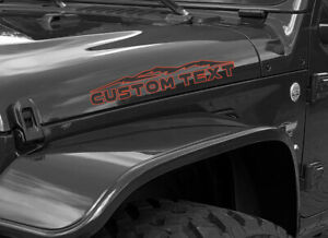 2 Mountains Custom Text Hood Dual Color Decals Fits Jeep Wrangler Or Any Truck