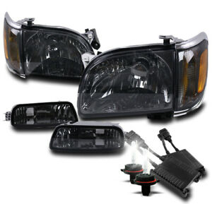 For 2001 2004 Toyota Tacoma Pickup Smoke Headlights W Corner Bumper 50w 6k Hid