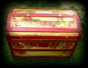 Rare Antique Hand Painted Domed Steamer Trunk Signed Ca 1872