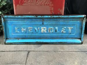 Vintage 50 s 60 s Chevy Truck Tailgate Beautiful Blue Green Turquoise Color