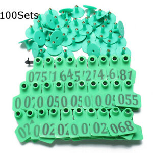 100sets Green Animals Cattlegoat Pig Sheep Use Ear Number Tag Livestock Tags The