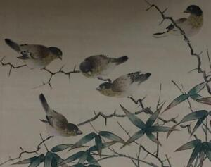 Orig Watercolor Ink Painting Chinese Scroll Birds Finches Bamboo Aft Shen Quan