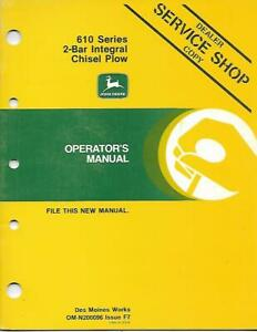John Deere 610 Series 2 bar Integral Chisel Plow Operators Manaul