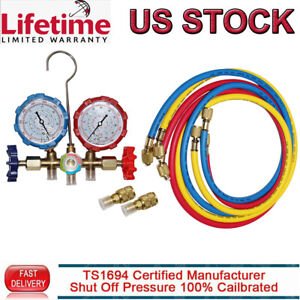 R 410a A c Hvac Manifold Gauge Set Refrigeration System Test Kit W 5ft Hose Us