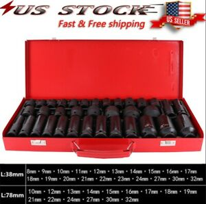 35pcs 1 2 Inch Deep Impact Socket Set Drive 8 32mm Metric Garage Sae With Case