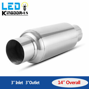 Performance Muffler Exhaust Resonator 3 Inlet Outlet 14 Long Stainless Steel