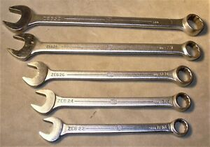 5 Vintage Bonney Combination Wrenches zeb22 24 26 28 32 11 16 3 4 13 16 7 8 1