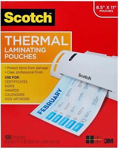 Scotch Thermal Laminating Pouches 100 pack 8 9 X 11 4 Inches Letter Size S
