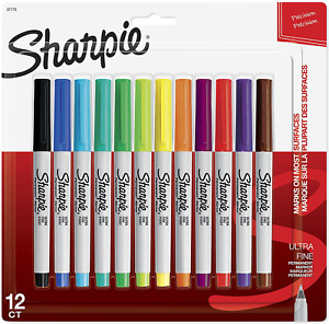 Sharpie 37175 Permanent Markers Ultra fine Point Assorted Colors 12 count