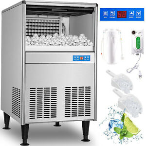 125lbs Commercial Ice Maker Undercounter Ice Machine 57kg 24h Stainless Steel