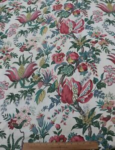 Vintage French Big Scale C1930 1940 Printed Linen Indienne Fabric Panel 67 X63
