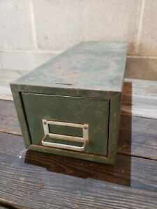 Vintage Single Drawer Industrial Index Card File Cabinet Card Catalog Parts