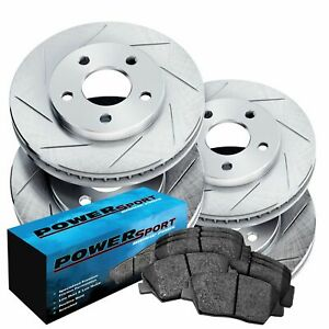 Fit 2011 2012 Ford Mustang Front Rear Rear Slotted Brake Rotors ceramic Pads