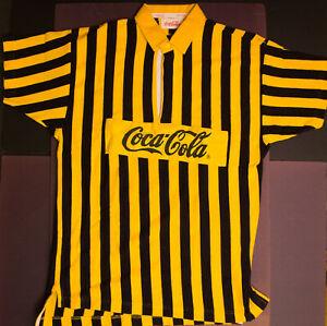 Coca Cola Polo Rugby Jersey Polo Bumble Bee Striped Yellow Black 80s SMALL shirt