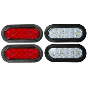 2x Red 2x White 6 Oval 10 Led Trailer Truck Reverse Backup Stop Tail Lights 12v