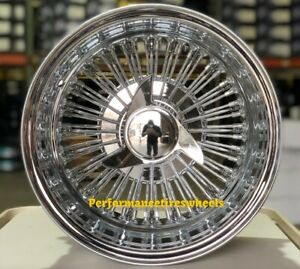 Set Of 4 New 14x7 72 Spoke Straight Lace Chrome Wire Wheels Lowrider