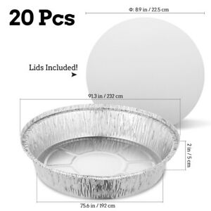 Round Aluminum Foil Take out Pan Board Lids 20 Sets Disposable Containers