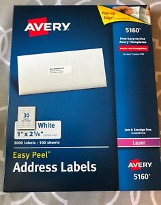 Avery easy peel white mailing labels 5160 quantity 3000 labels Avery easy peel