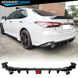 Fits 18 20 Toyota Camry Rear Bumper Diffuser W 3rd Brake Light Tip Gloss Black