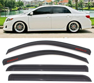 For 09 13 Toyota Corolla Sedan Window Visor Smoke Rain Guard Deflector Shade