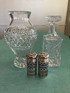 Beautiful Cut Crystal Vase And Decanter And Vintage Salt Pepper Shakers