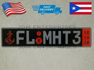 Euro License Plate Embossed Black Background With Gray Color Numbers Tablilla
